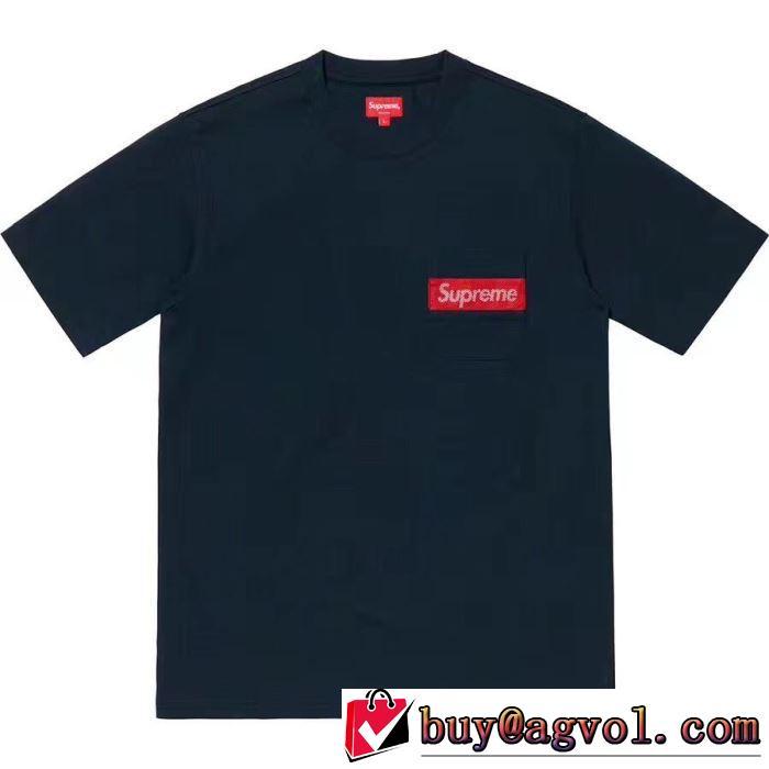 Supreme 19SS Mesh Stripe Pocket Tee Box logoファッションにトレンド夏らしい季節感 Tシャツ/半袖 2色可選