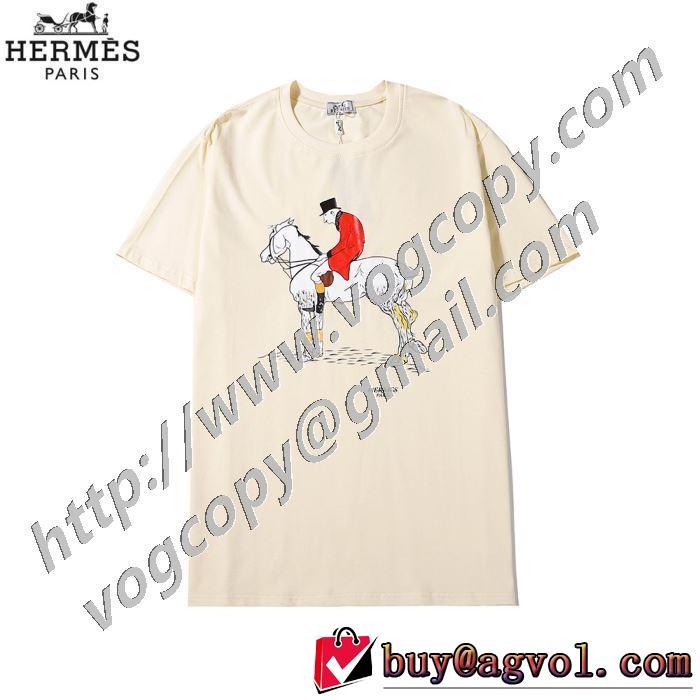 3色可選 普段使いにも最適なアイテム エルメス HERMES ストリート界隈でも人気 半袖Tシャツ