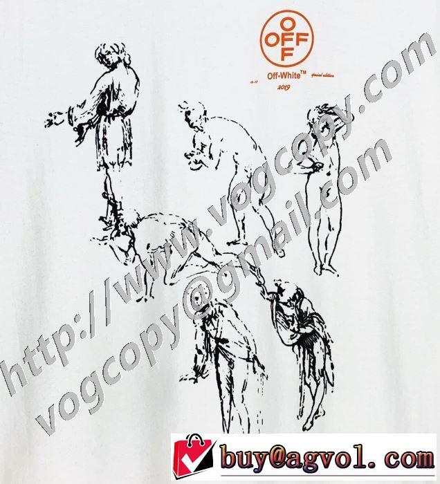 2色可選 シンプルなファッション 半袖Tシャツ この時期の一番人気は Off-White オフホワイト