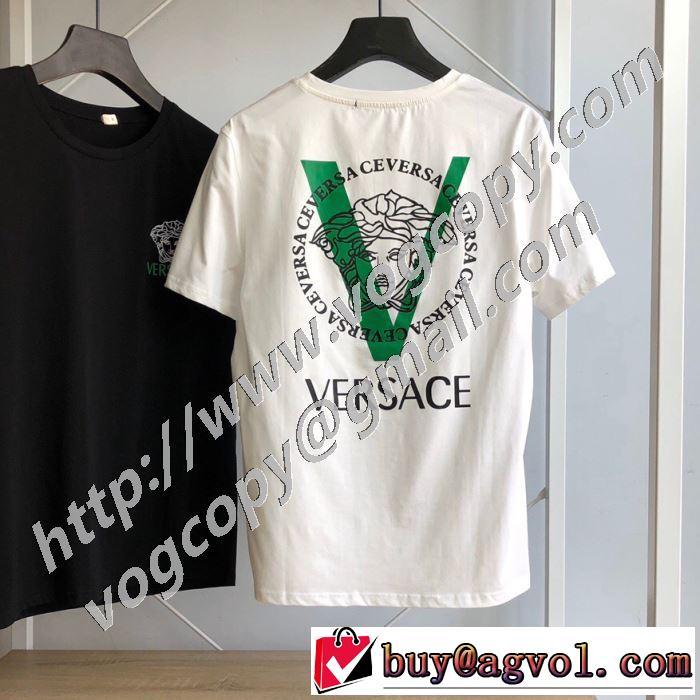 2色可選 普段使いにも最適なアイテム 半袖Tシャツ ストリート感あふれ ヴェルサーチ VERSACE 安心安全人気通販
