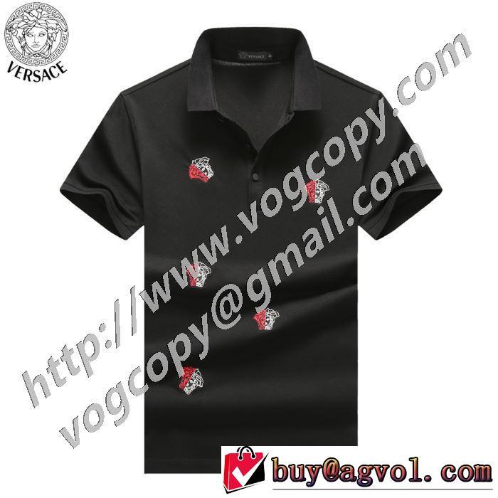 非常にシンプルなデザインな 3色可選 半袖Tシャツ 普段見ないデザインばかり ヴェルサーチ VERSACE