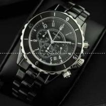 コピー ブランド 腕時計 J12 メンズ腕時計 恋人腕時計 日本製クオーツ 6針 黒文字盤 回転ベゼル セラミック