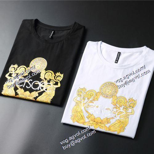 2021春夏 2色可選 VERSACEスーパーコピー 代引 半袖Tシャツ ヴェルサーチVERSACE 欧米韓流/雑誌