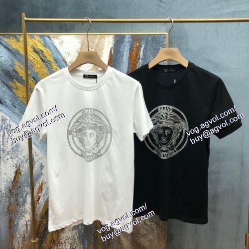 2021春夏 VERSACEコピー 高級感ある 2色可選 半袖Tシャツ ヴェルサーチVERSACE