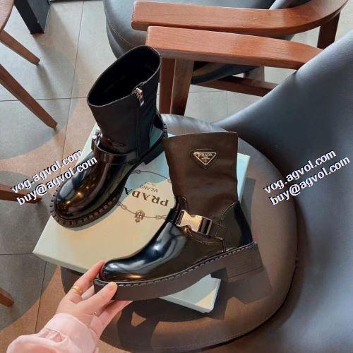 2021秋冬 プラダ PRADA リゾートスタイル プラダブランド 美脚SALE コピー ビット付き ショートブーツ 紐なし